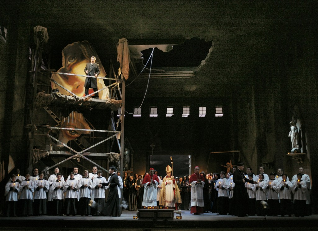 "The Act One finale of ""Tosca,"" with Lado Ataneli (at upper left) as Scarpia. Photo: Robert Millard"