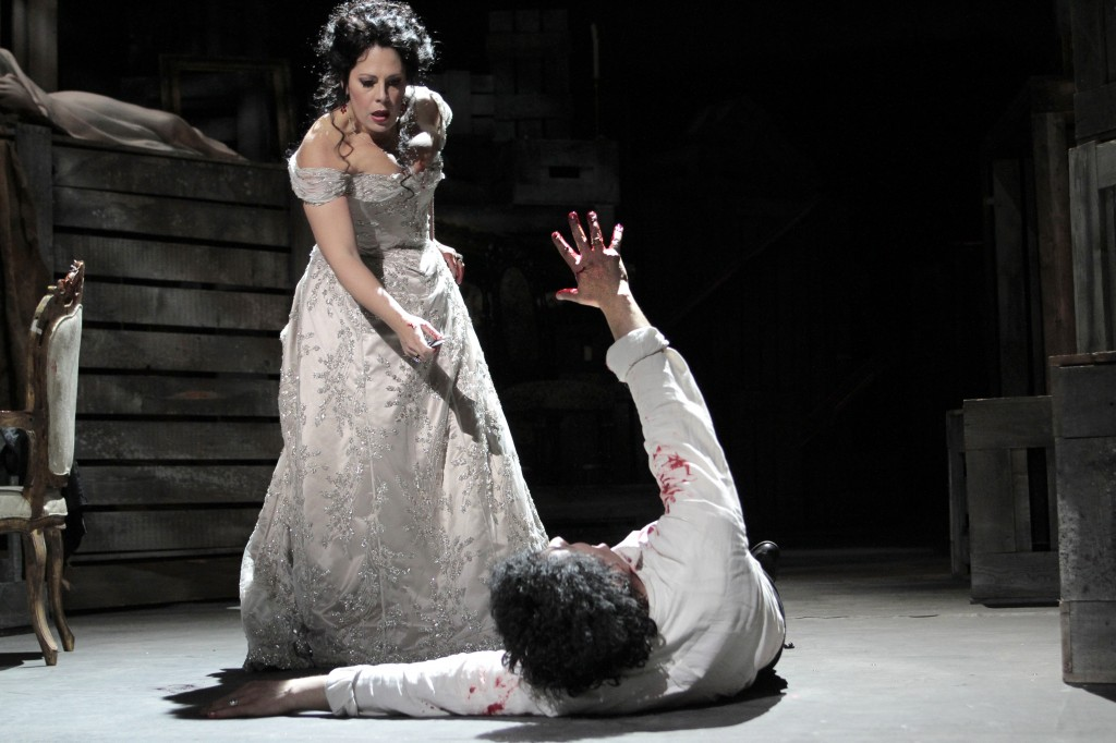 Sondra Radvanovsky as Tosca, with Lado Ataneli as Scarpia. Photo: Robert Millard