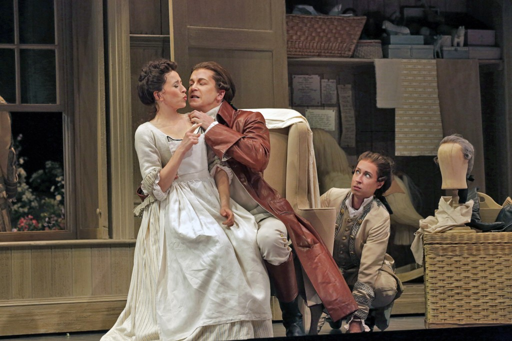 LISETTE OROPESA (SUSANNA), DANIEL OKULITCH (COUNT ALMAVIVA) + EMILY FONS (CHERUBINO).  Photo by Ken Howard