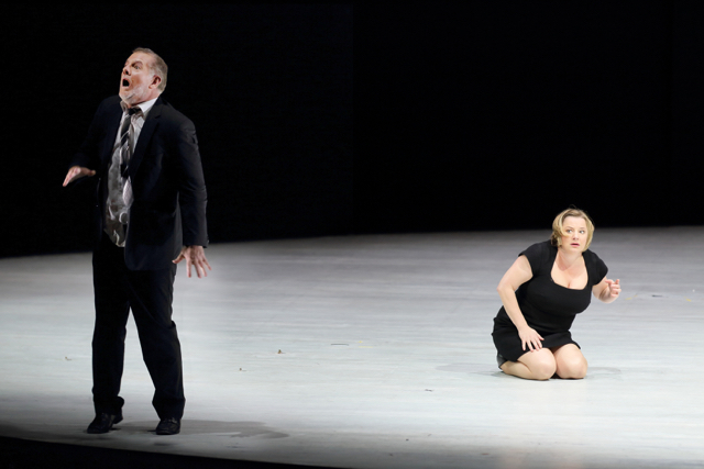 "Robert Hayward as Bluebeard and Claudia Mahnke as Judith in ""Bluebeard's Castle."" Photo: Craig Mathew / LA Opera"