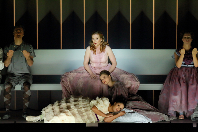"Top to bottom, center: Paula Murrihy as Dido, Kateryna Kasper as Belinda and Summer Hassan as the Second Woman in ""Dido and Aeneas."" Photo: Craig Mathew / LA Opera"