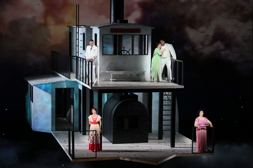 Clockwise from top left: David Pittsinger (Captain), Nancy Fabiola Herrera (Paula), Gordon Hawkins (Alvaro), Veronica Villarroel (Florencia) and Lisette Oropesa (Rosalba). Photo: Craig T. Mathew / LA Opera