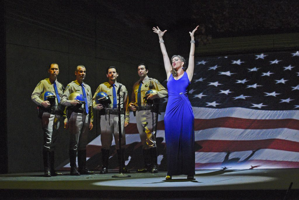 "Wild Super Bowl ""variations"" on the Star Spangled Banner. Soprano Joyce El-Khoury is Tatyana Bakst in San Diego Opera's GREAT SCOTT, 2016. Photo by Karen Almond."