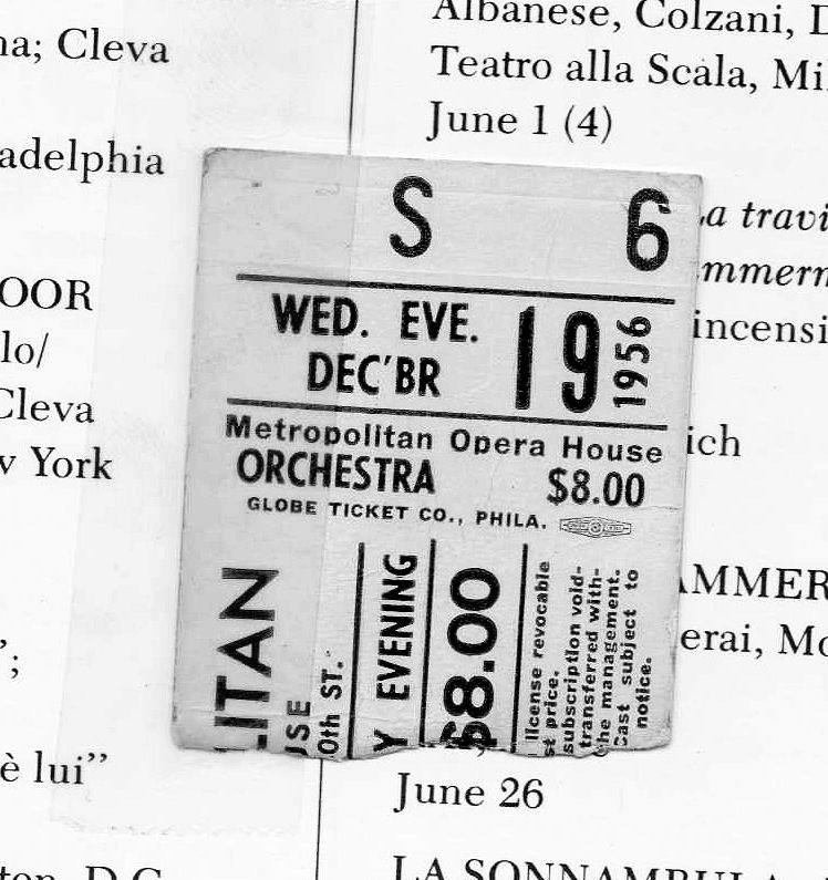 "Maria Callas and Richard Tucker in ""Lucia"" at the Met, $8.00 orchestra seat, December 19, 1956"